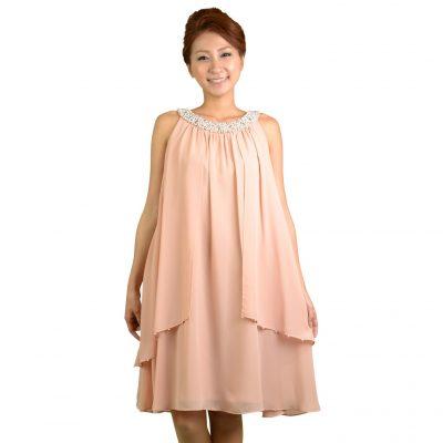 ジャスグリッティー (JUSGLITTY) アメリカンスリーブピンクドレス