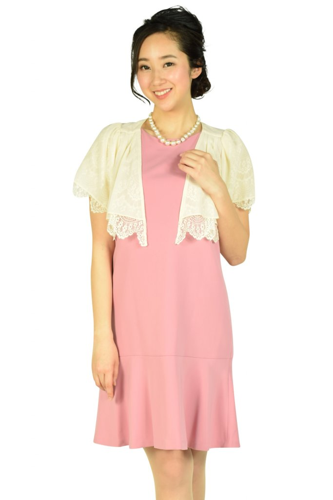 Apuweiser-riche スカート裾フリルIラインピンクドレスセット
