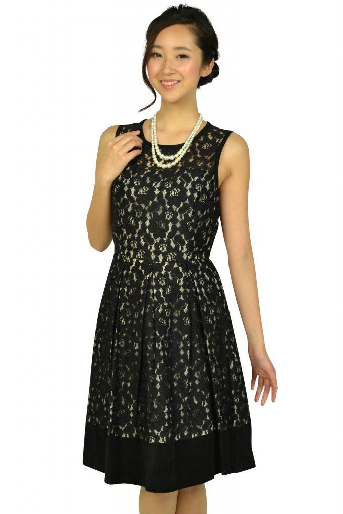 カルバンクライン(Calvin Klein) ブラックフラワーレースドレス