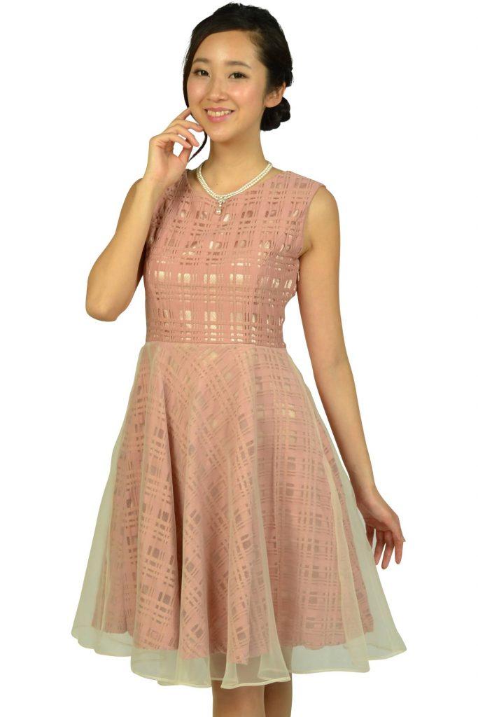 アナトリエ(anatelier) スモーキーピンクチェックドレス