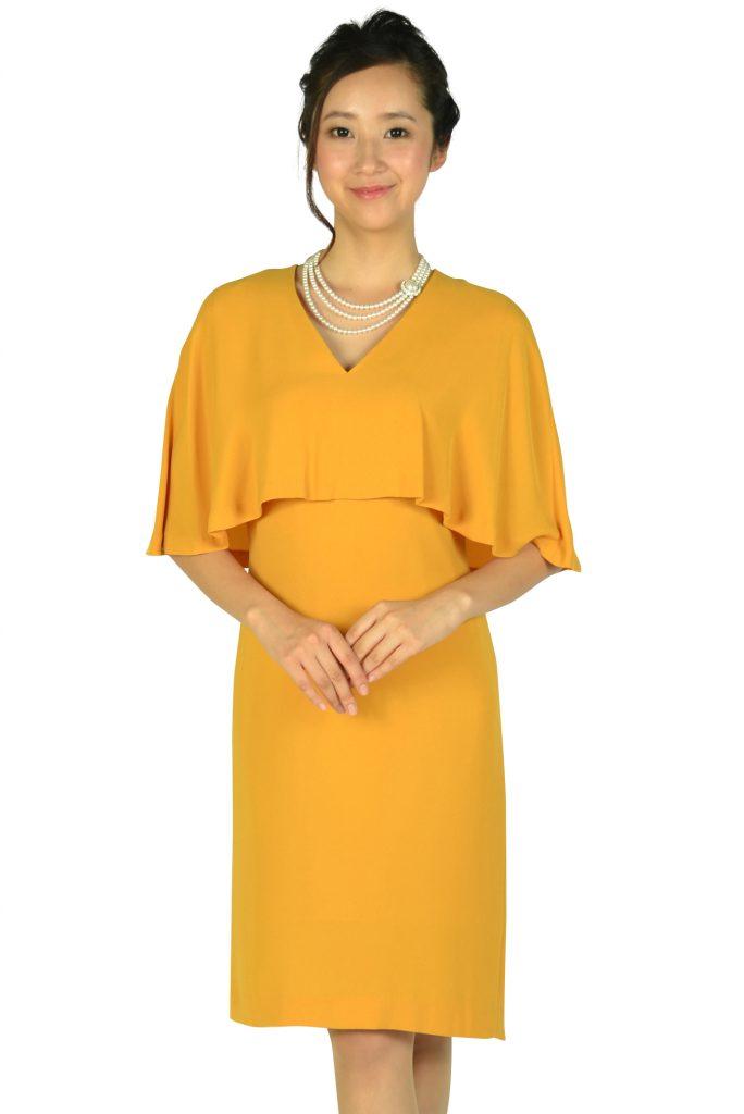 ユナイテッドアローズ (UNITED ARROWS) ケープ袖Iラインマスタードドレス