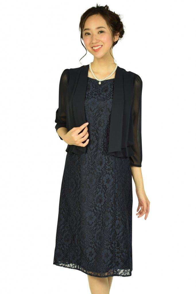 ドレス デコ(DRESS DECO) ジャケットドッキングネイビードレス