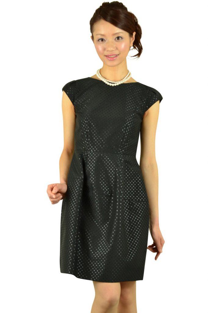アンタイトル (UNTITLED) ブラックドットコクーンドレス