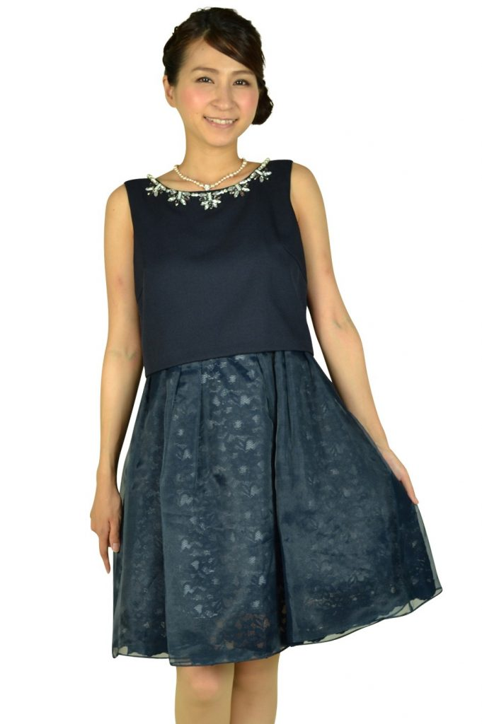 アプワイザー・リッシェ (Apuweiser-riche) ネイビーチュールスカートドレス