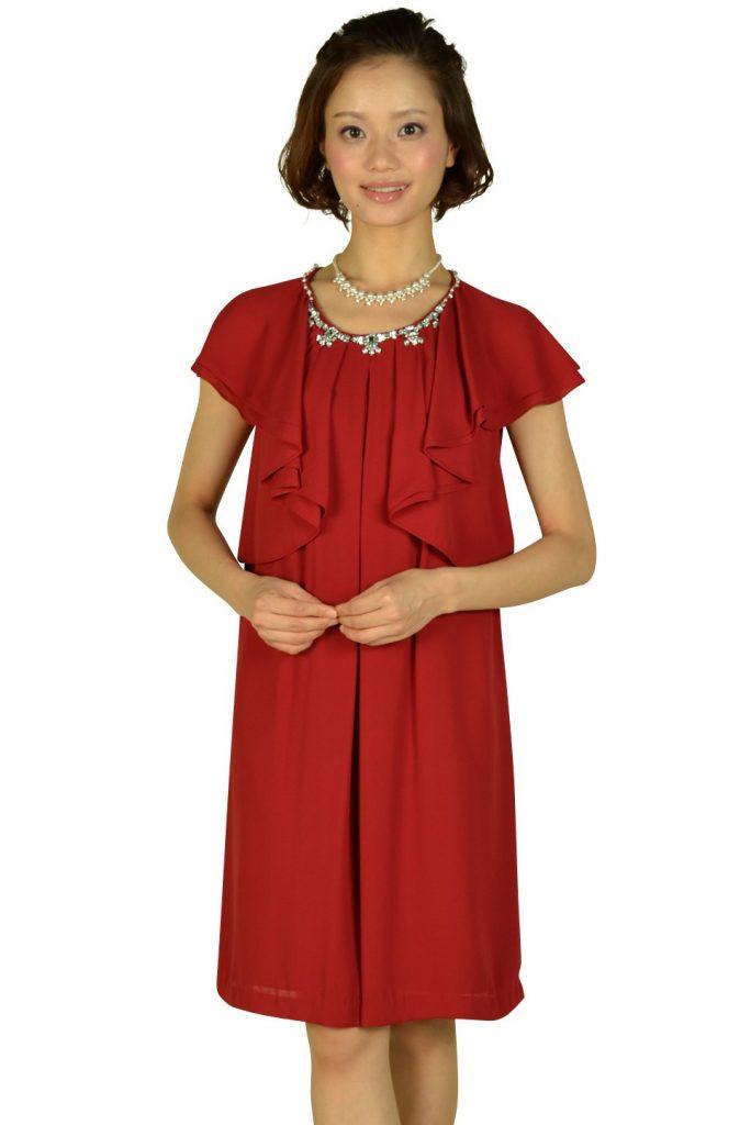 ペイトンプレイス (PEYTON PLACE) ボルドーラッフル袖ドレス
