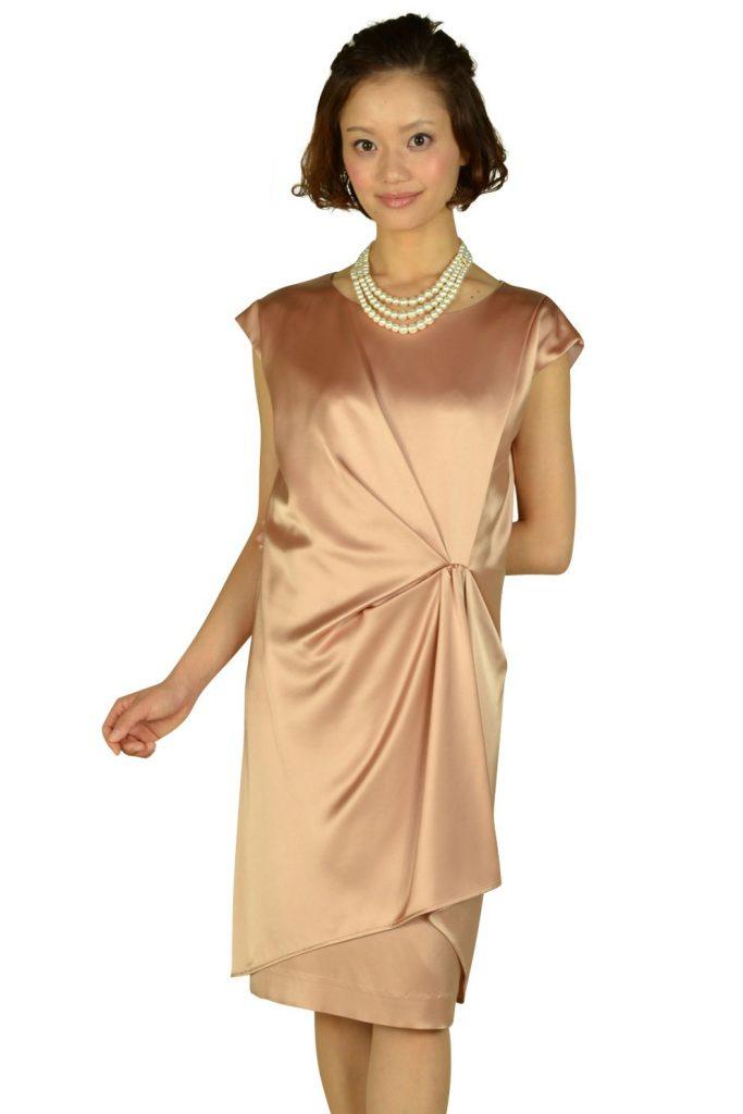 アンタイトル (UNTITLED) 光沢ベージュオレンジミニ袖ドレス