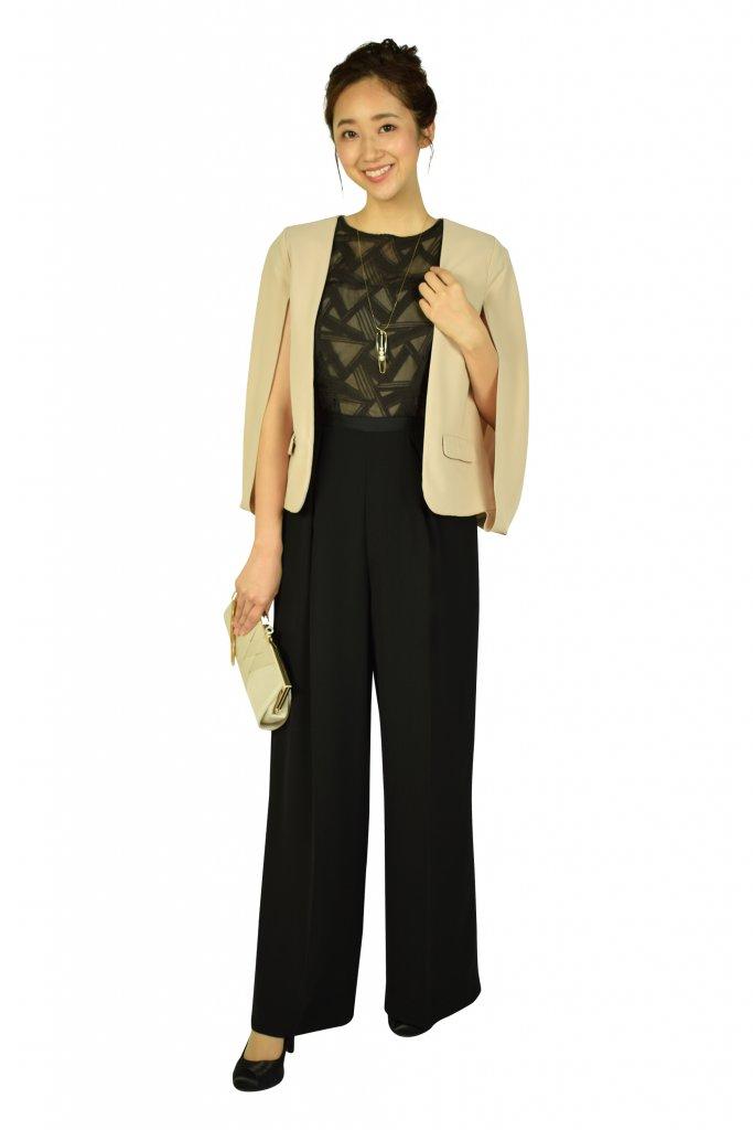 ラグナムーン (LAGUNAMOON) トライアングル刺繍ブラックパンツドレス