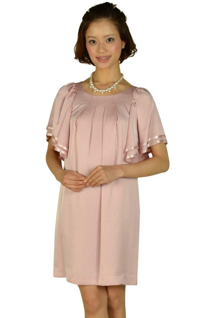 イネド (INED) ゆったりフレア袖ピンクドレス