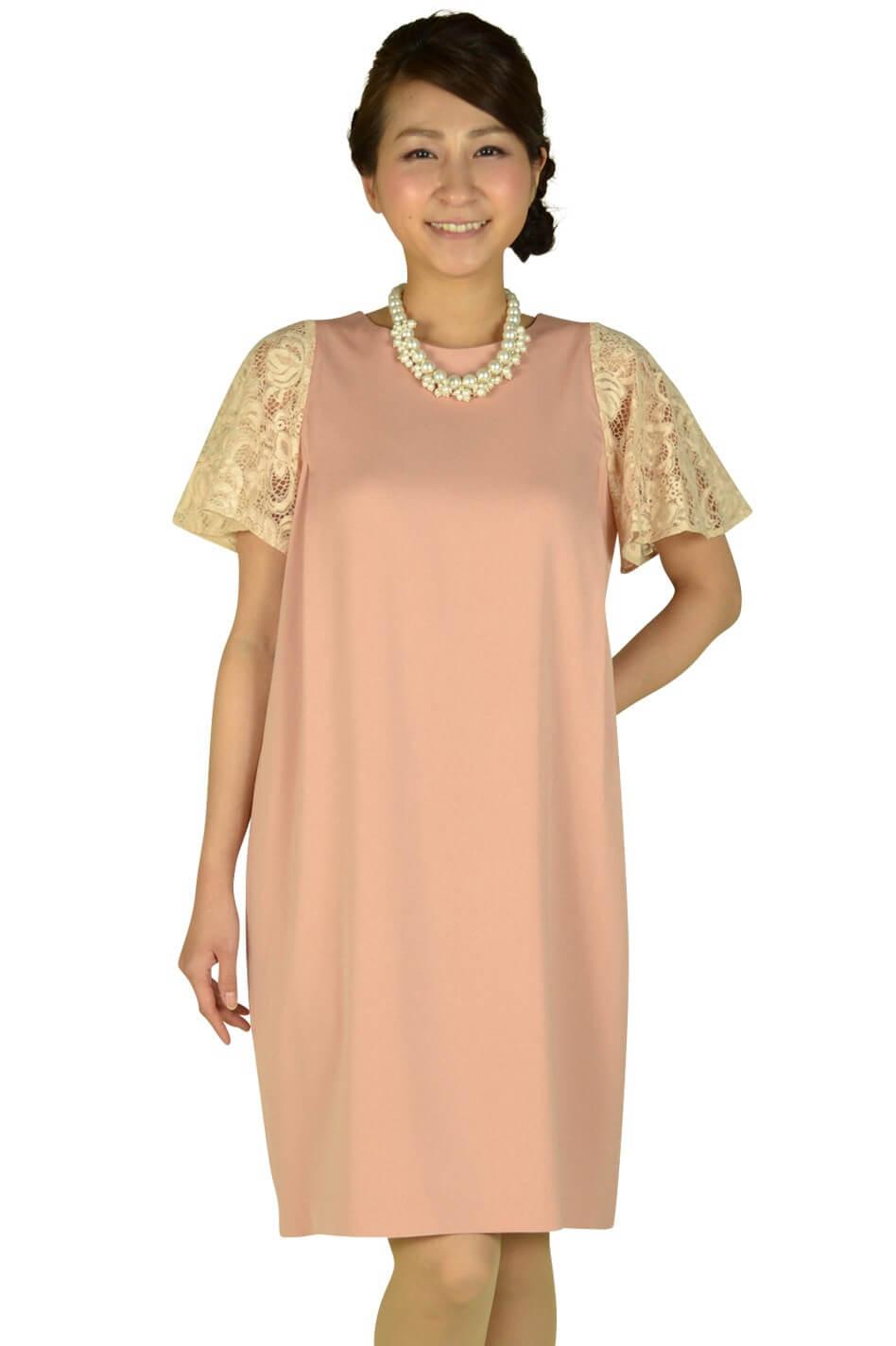 デミルクス ビームス (Demi-Luxe BEAMS) ジョーゼットピンク袖レースドレス