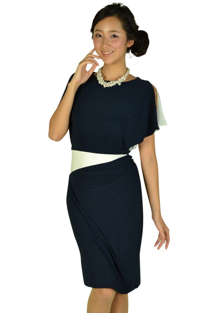 ローレンラルフローレン (LAUREN RALPH LAUREN) ネイビーアクセントホワイトドレス