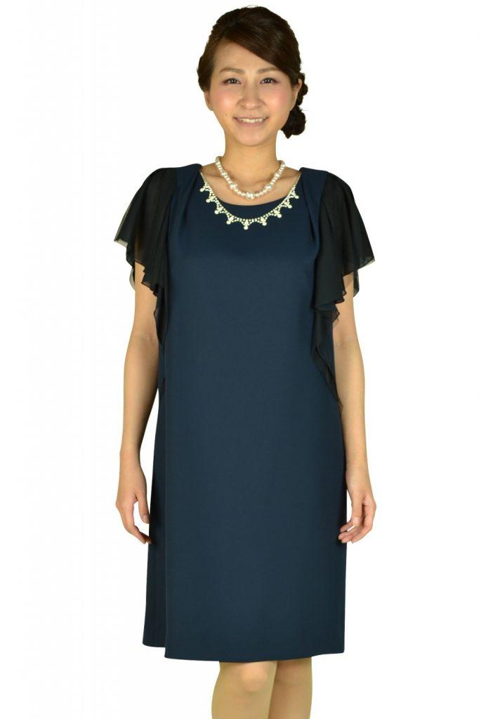リプリート (REPLETE) 異素材MIXネイビーミニ袖ドレス