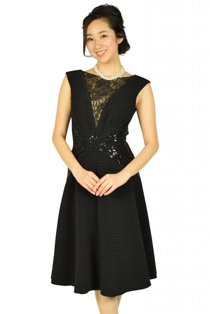 Tadashi Shoji エレガントフレアスカートブラックドレス