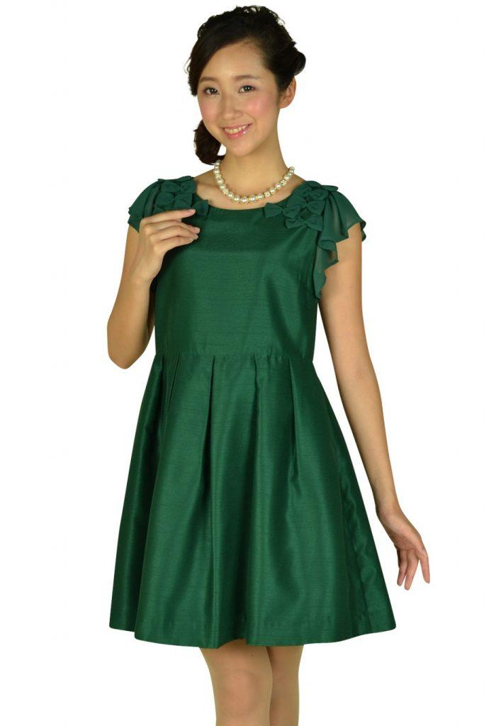 e363a01af75b2 ボン メルスリー (Bon mercerie) グリーンリボンモチーフ付きドレス