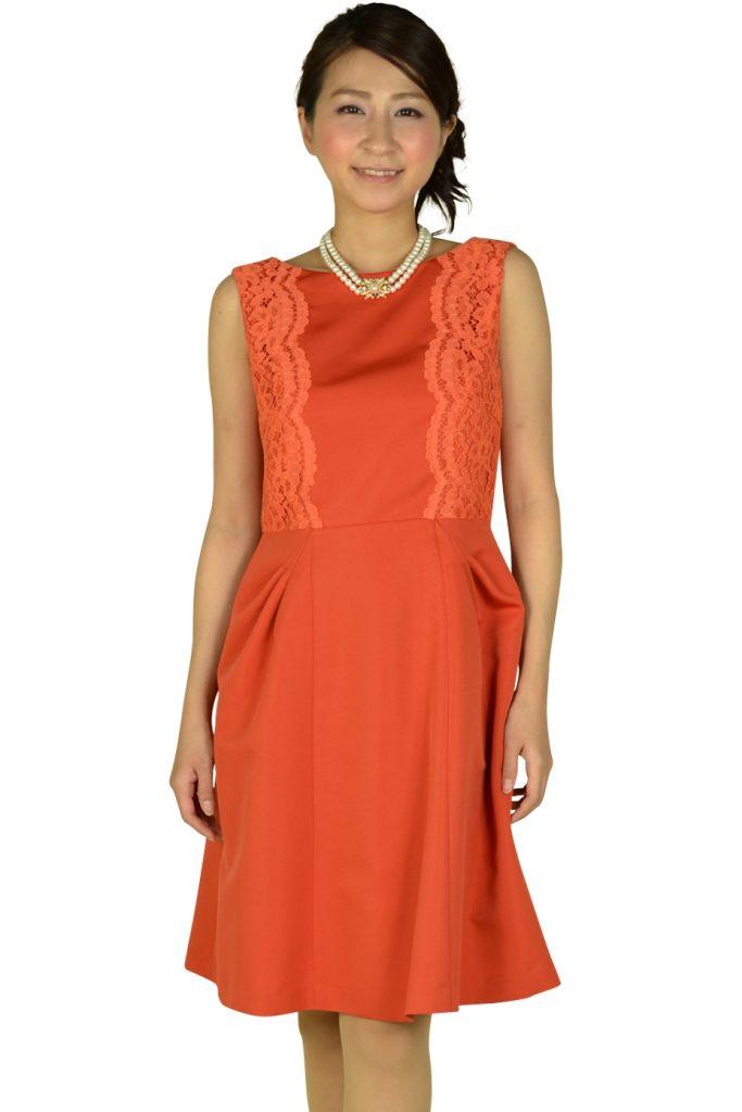 リプリート (REPLETE) フィットアンドフレアレースオレンジドレス