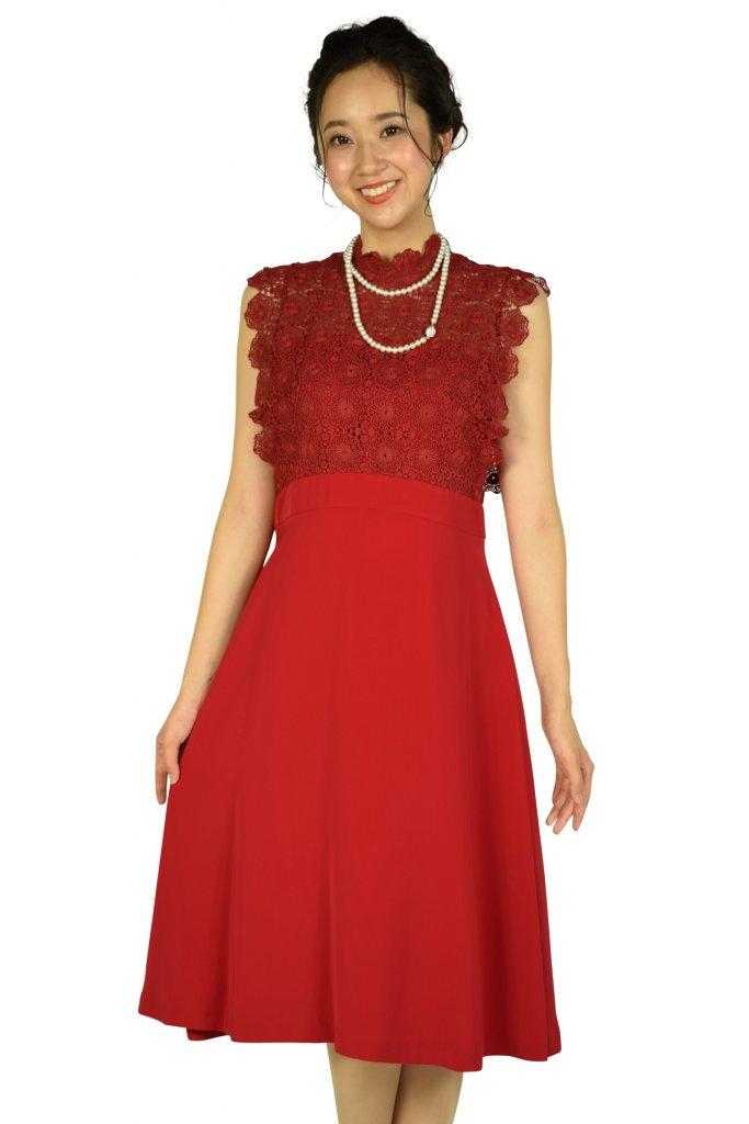 フェテローブ(FeteROBE) フラワーレースレッド系ドレス