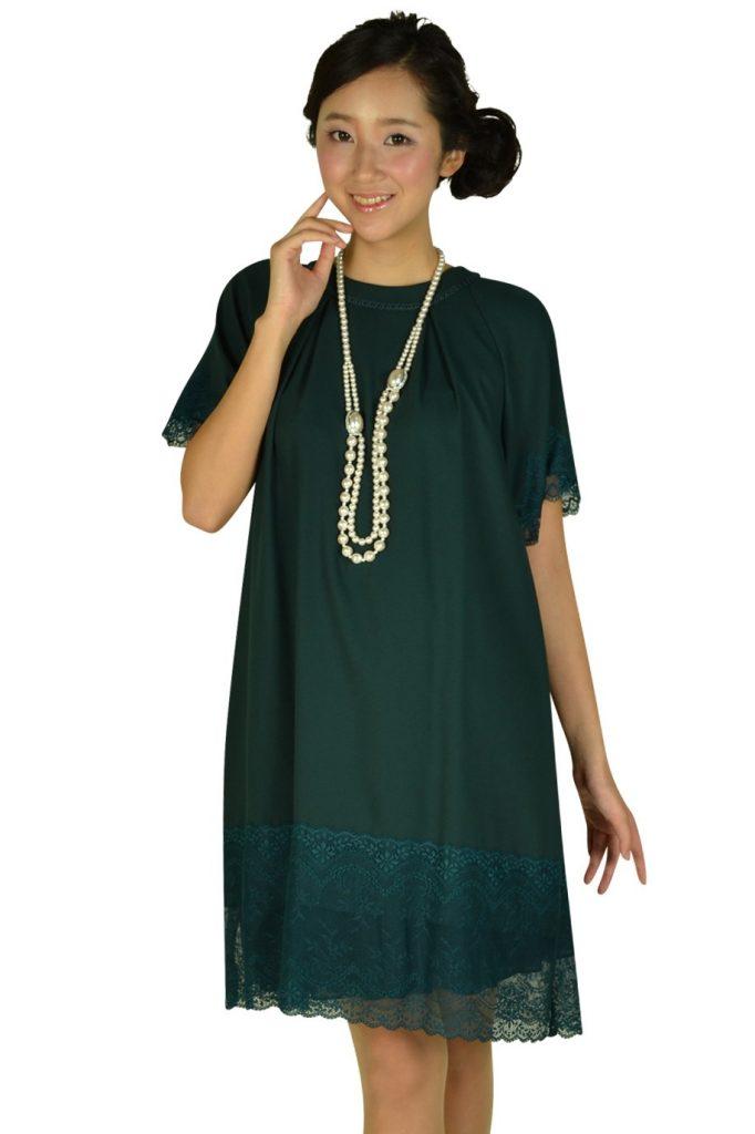イエナ スローブ(IENA SLOBE) 袖付きグリーンレースドレス