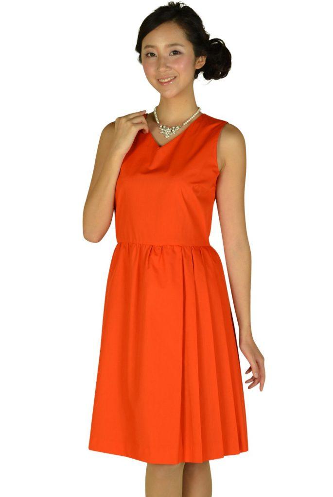 デミルクス ビームス (Demi-Luxe BEAMS) Vネックブライトオレンジドレス