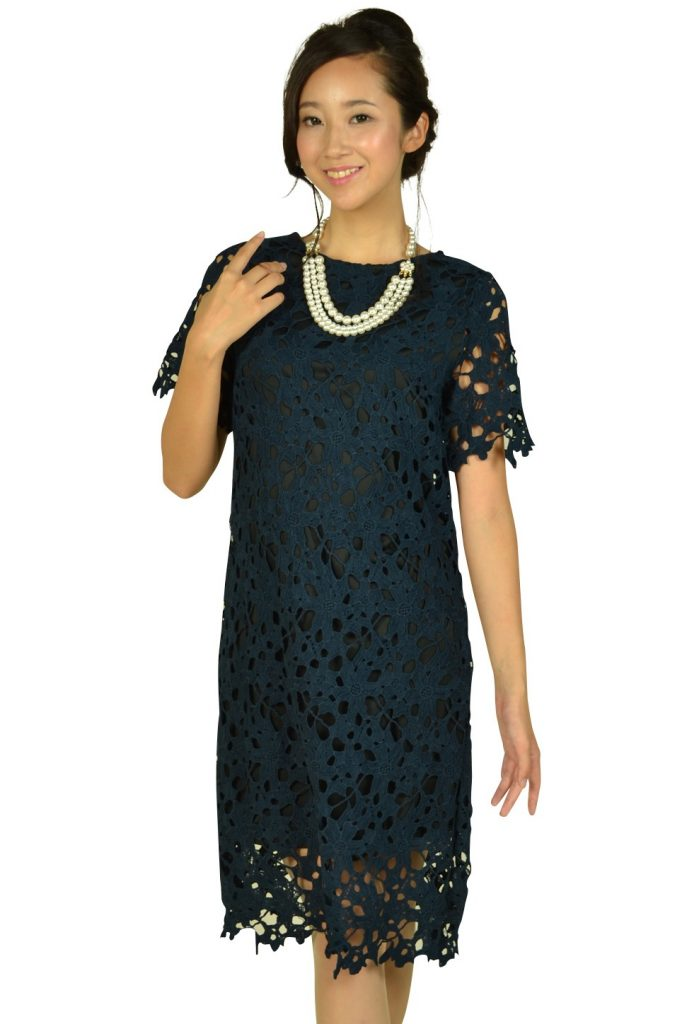 リトルブラックドレス (LITTLE BLACK DRESS) カッティング総レースネイビードレス