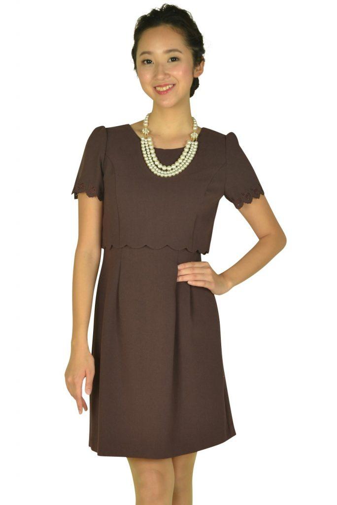 レッセパッセ (LAISSE PASSE) レッドブラウンアイレットレース袖ドレス