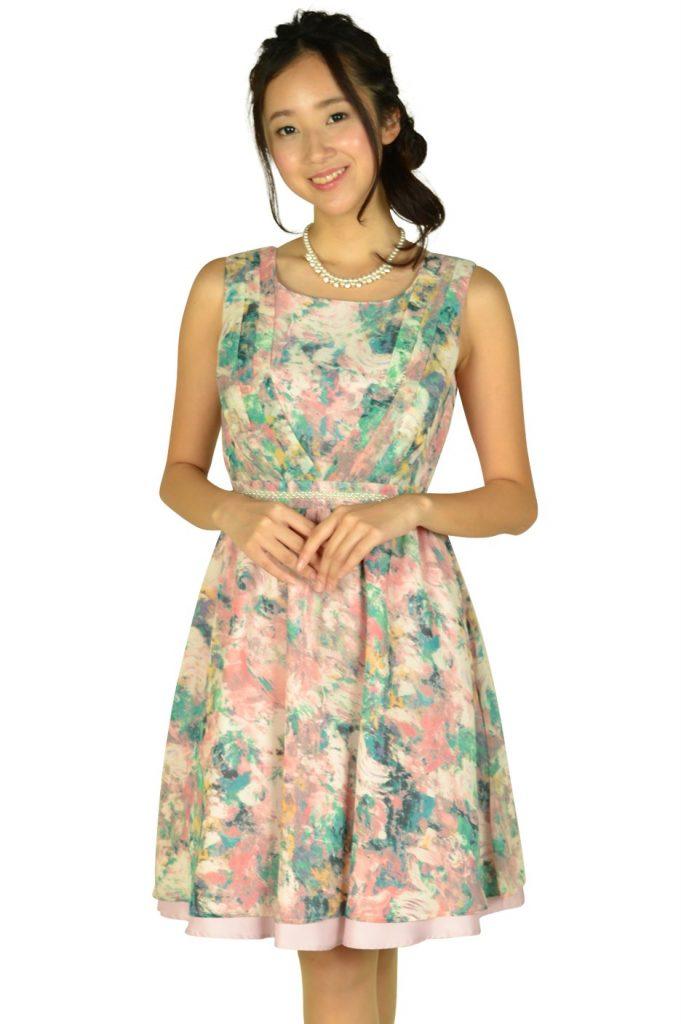 リプリート (REPLETE) ぼかしフラワーピンクドレス