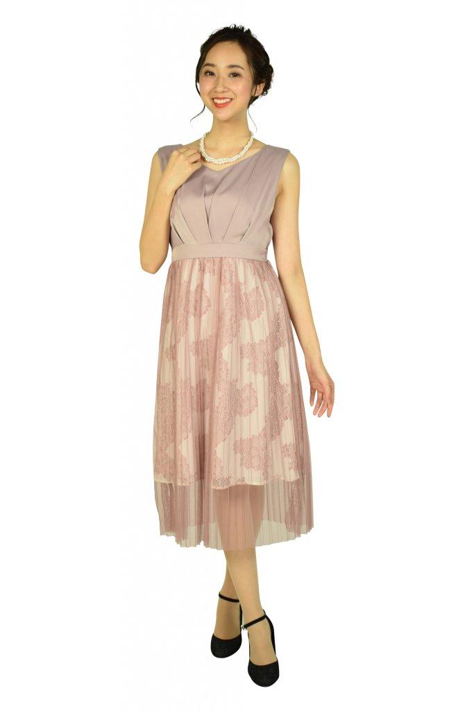 アグレアーブル (Agreable) プリーツチュールピンクドレス