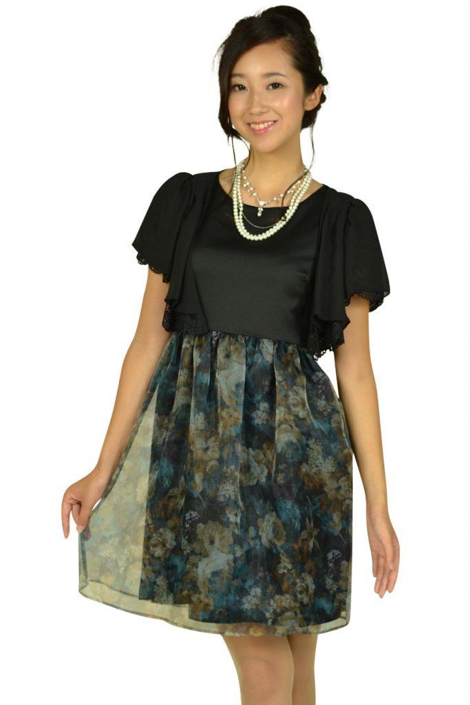 クチュールブローチ (Couture Brooch) フラワープリントブラックドレスセット