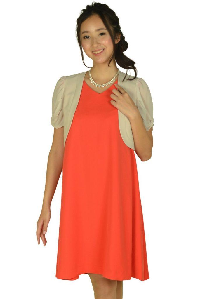ストロベリーフィールズ(STRAWBERRY-FIELDS) VネックAラインオレンジドレスセット