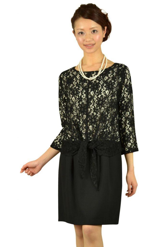 シップス(SHIPS) 7分袖ブラックレースドレス