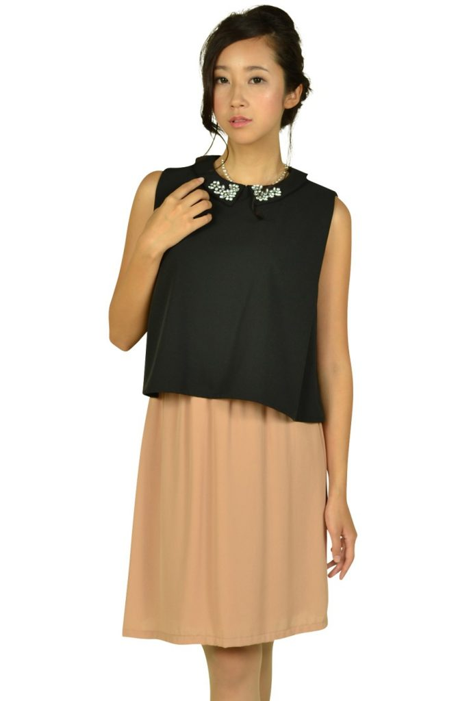 リトルブラックドレス(LITTLE BLACK DRESS) 襟付きブラックバイカラードレス