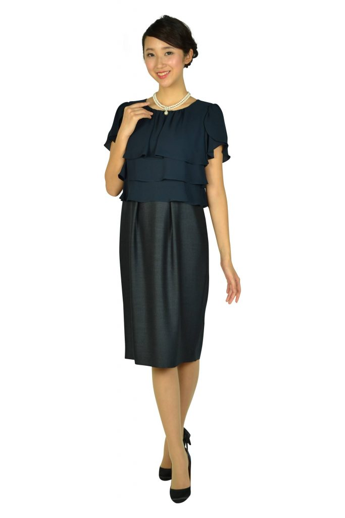 ドレス デコ(DRESS DECO) フリルトップネイビードレス