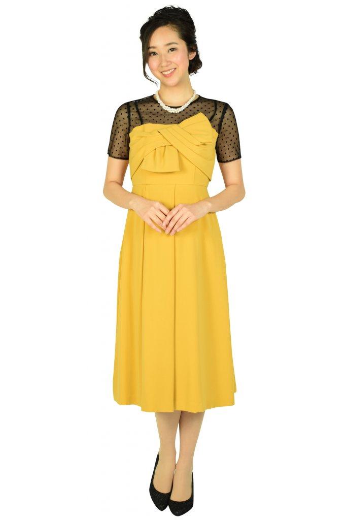 ダイアグラム (DIAGRAM) 袖付きドットレースマスタードドレス