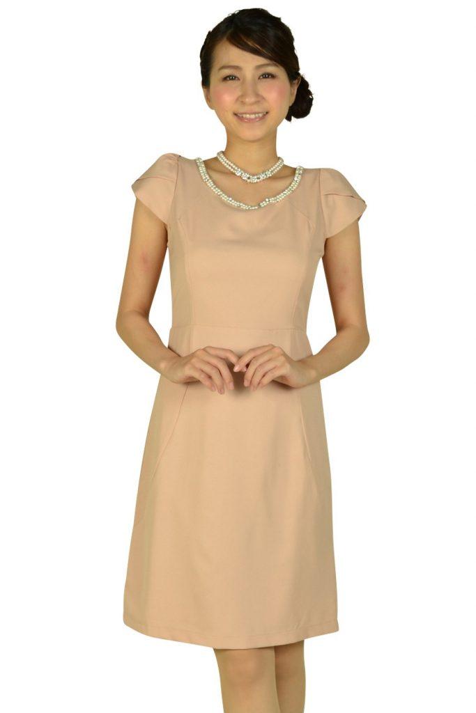 ミモザ(mimosa) ミニ袖付きビジュピンクドレス