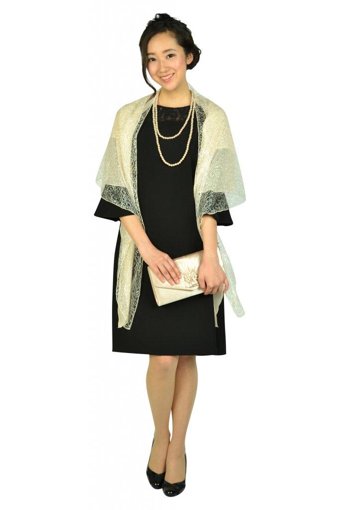 エルモソ リュクス (Hermoso luxe) 異素材ベル袖ブラックドレス