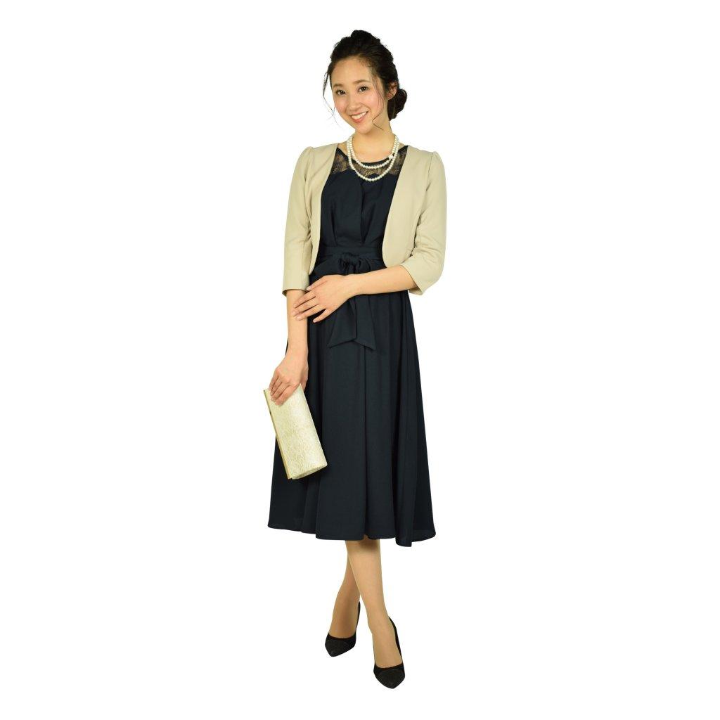 ビヲミナ 上品6分袖レースミディ丈ネイビードレス