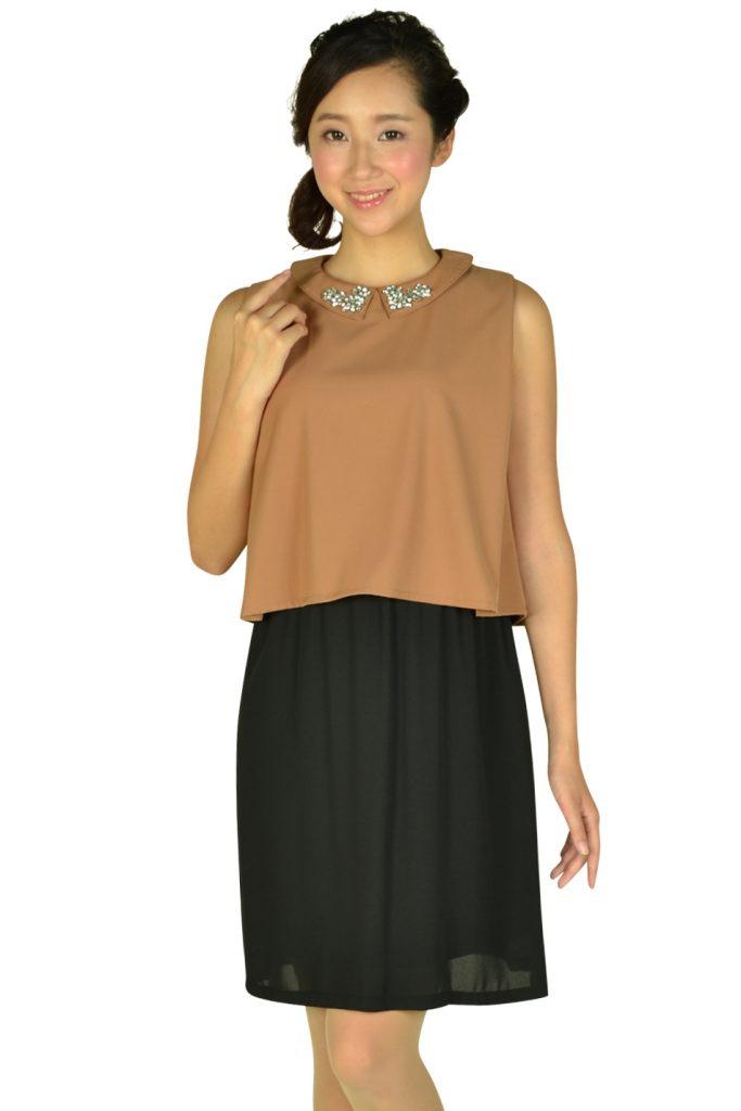 リトルブラックドレス (LITTLE BLACK DRESS) 襟付きキャメルバイカラードレス