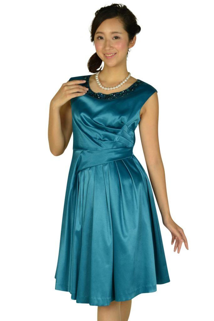 42edaa2ca53a9 ドーリードール (Dorry Doll) ラメ素材セルリアンブルービジュドレス