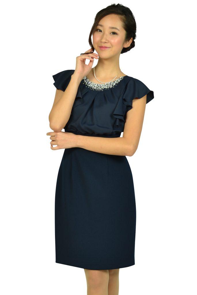 アプワイザー・リッシェ (Apuweiser-riche) ネックビジュタイトネイビードレス