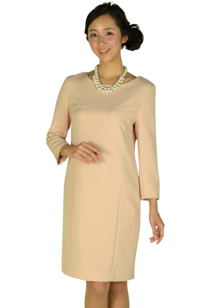インディヴィ (INDIVI) シンプル7分袖ピンクドレス