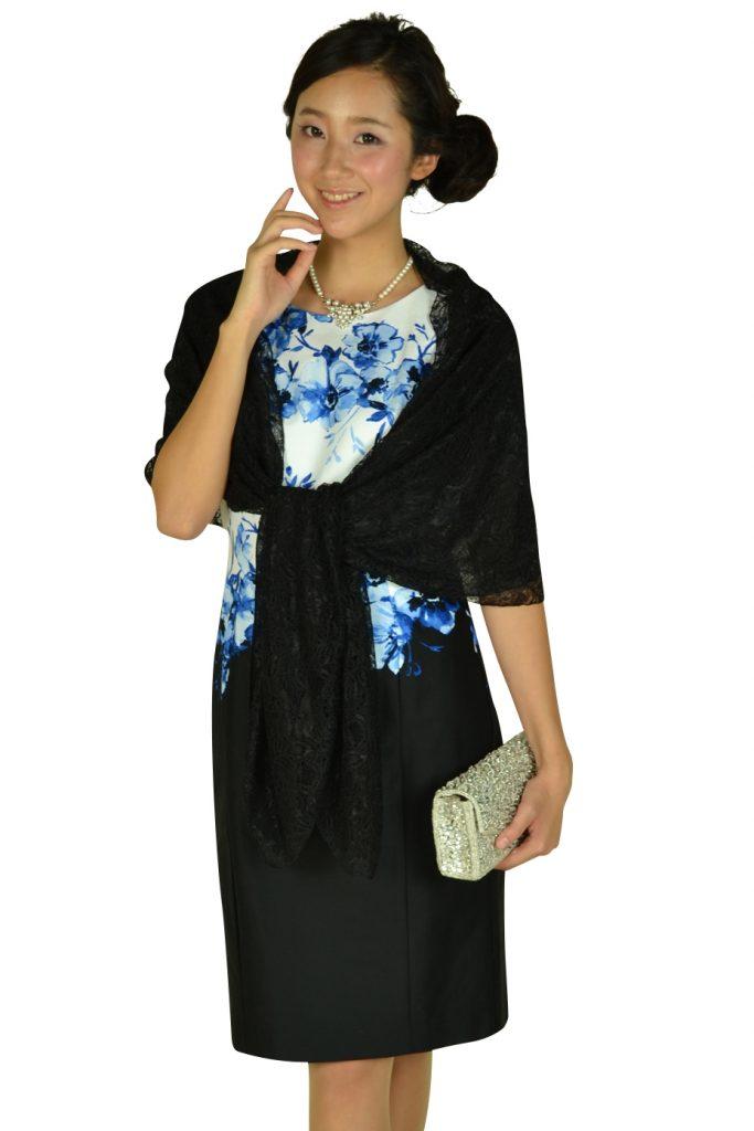 60b758a8a2629 ローレンラルフローレン (LAUREN RALPH LAUREN) フラワーペイント×ブラックSKドレス