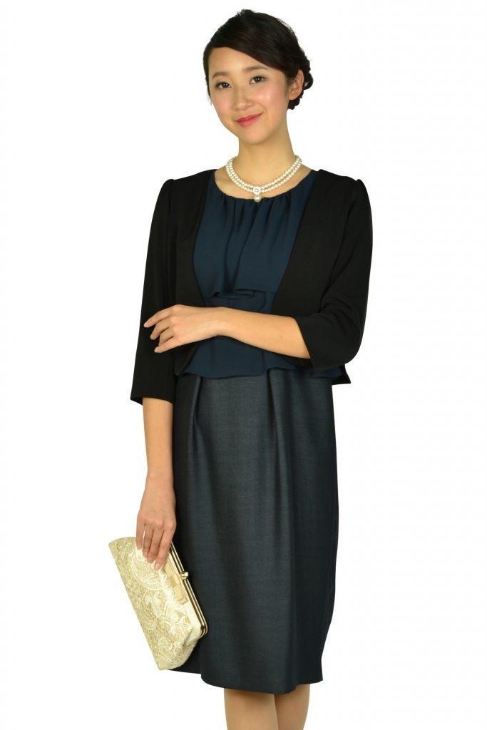 ドレス デコ (DRESS DECO) フリルトップネイビードレス