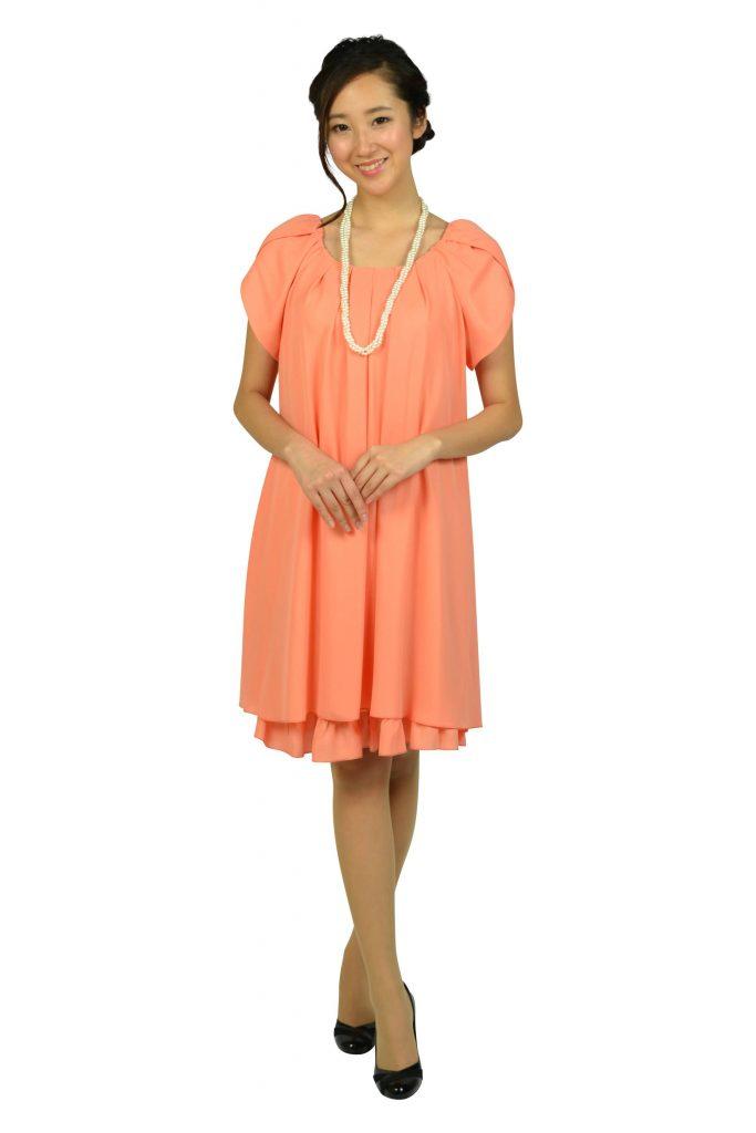 アプレジュール(Apres jour) ラメフリルコーラルオレンジドレス