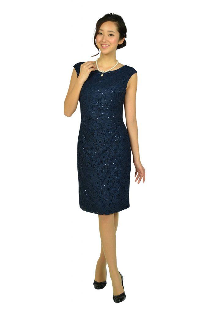 ローレンラルフローレン(LAUREN RALPH LAUREN) レーススパンコールネイビードレス