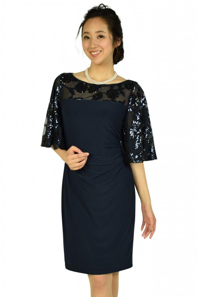 ローレンラルフローレン(LAUREN RALPH LAUREN) フレアスパンコールネイビードレス