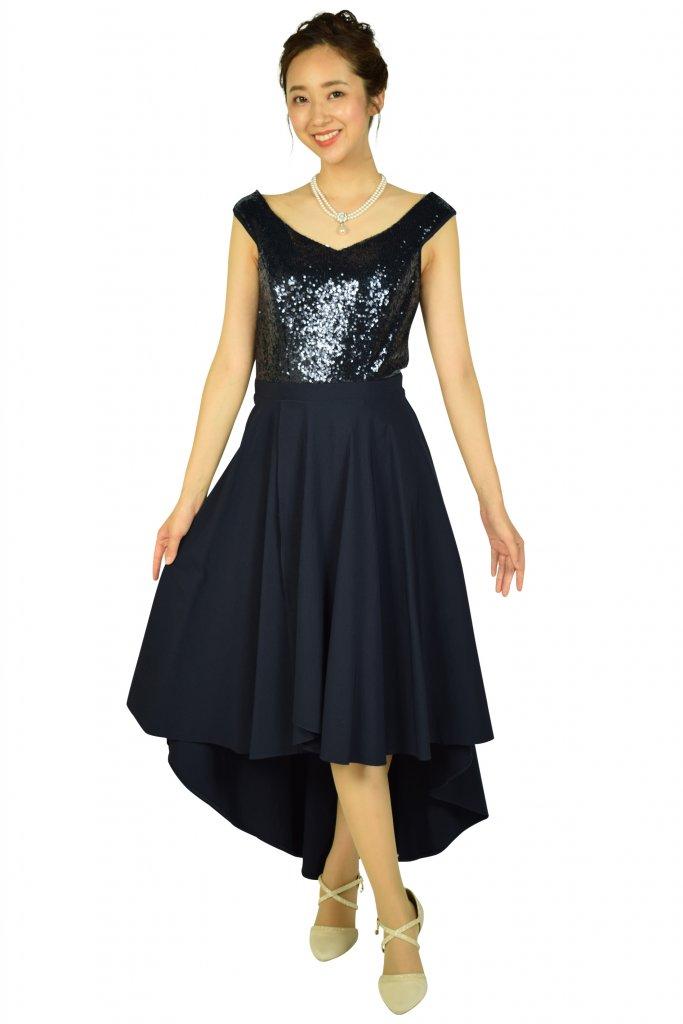 ROMAN エレガントスパンコールネイビードレス
