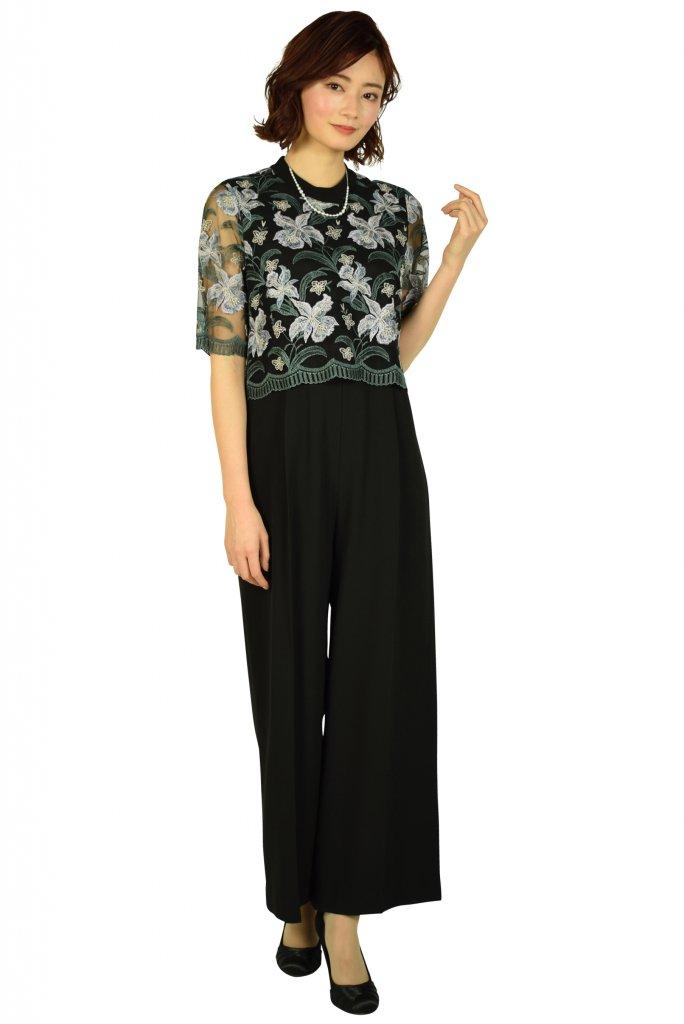 GRACE CONTINENTAL フラワー刺繍ブラックサロペットパンツドレス