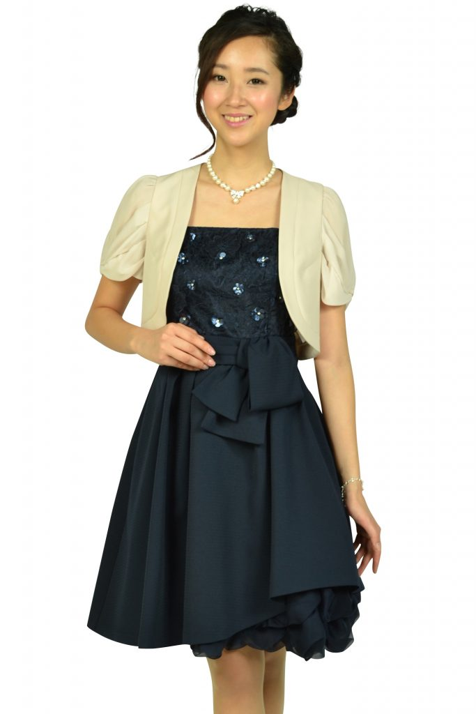 アプワイザー・リッシェ(Apuweiser-riche) フラワー刺繍ネイビードレスセット