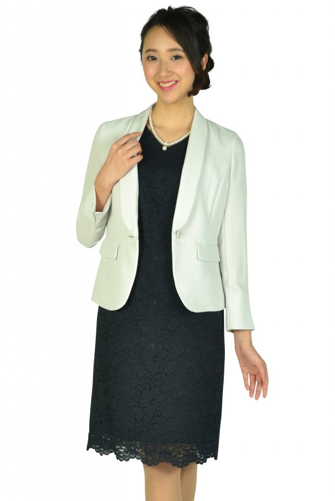 ホワイト ジョーラ (White Joola) シンプルレースVネック濃紺ドレスセット