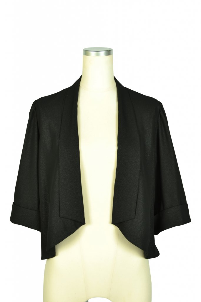 Luceat 襟付き5分袖ブラックボレロ