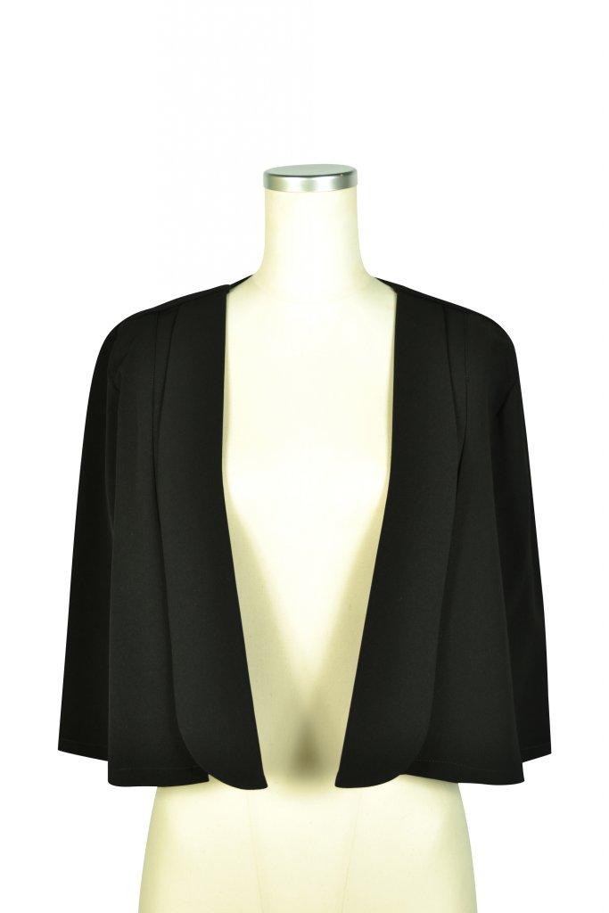 Karen シンプルケープ袖ブラックジャケット