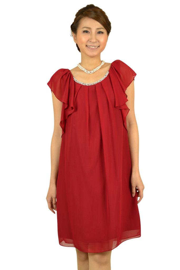 ジャスグリッティー (JUSGLITTY) ボルドーミニ袖ドレス